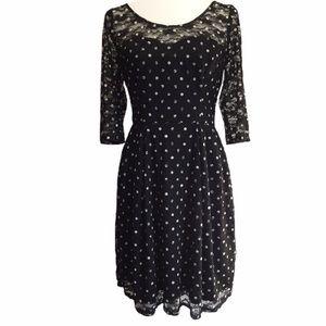 Betsy Johnson Polka Dot Lace Dress Size 6 EUC